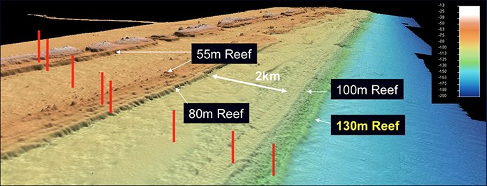 Fledermaus (TM) 3D image of the sea bed at Hydrographers Passage on the Great Barrier Reef - After Bridge et al.2010 & Abbey et al. 2011